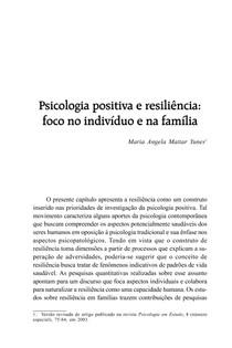Psicologia positiva e resiliência