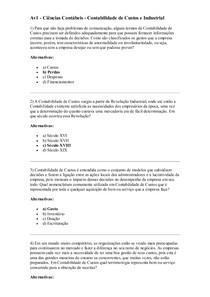 Av1 CONTABILIDADE DE CUSTOS INDUSTRIAIS