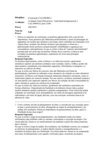 AVALIAÇÃO FINAL DISCURSIVA - CONSTRUÇÃO CIVIL
