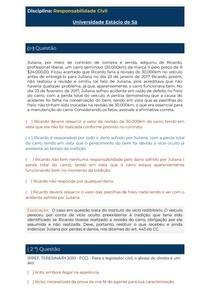 Simulado Av1 - Responsabilidade Civil