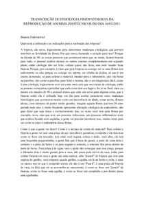 TRANSCRICAO DE FISIOLOGIA FISIOPATOLOGIA DA REPRODUCAO DE ANIMAIS ZOOTECNICOS DO DIA 16-03-2011