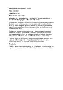 Unidade III - A Prática de Ensino e o Estágio na Gestão Educacional o Coordenador Pedagógico e o Supervisor de Ensino