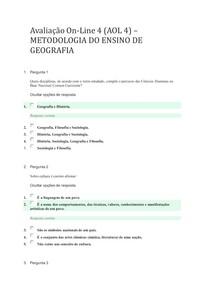 Avaliação On-Line 4 (AOL 4) - METODOLOGIA DO ENSINO DE GEOGRAFIA