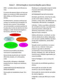 Resumo de Recomendação Nutricional para Idoso