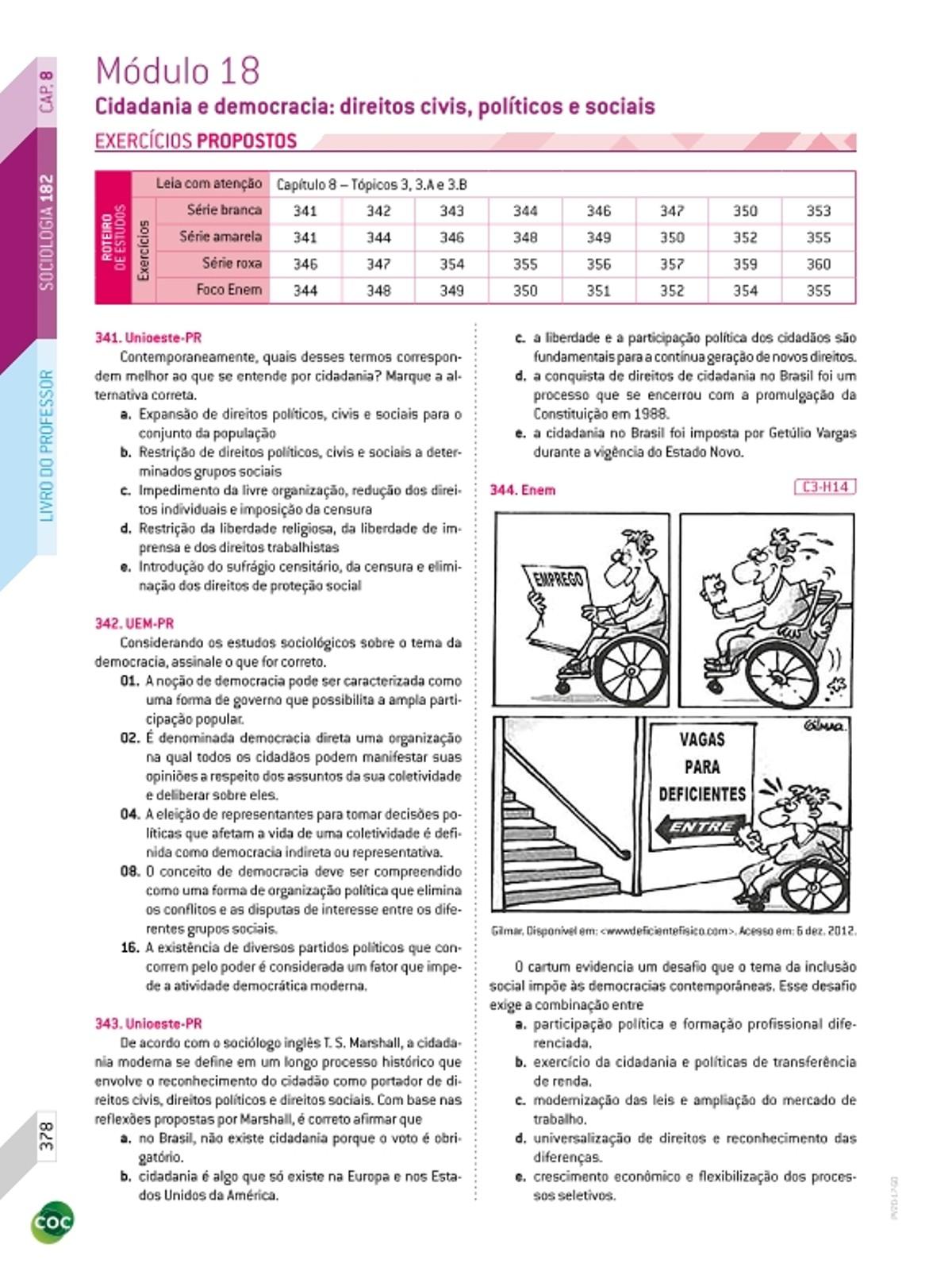 Pre-visualização do material 18 - Exercícios / Cidadania e democracia (direitos civis, políticos e sociais) - página 1