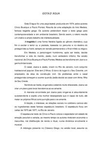 """Resumo da obra """"Gota D'água""""de Chico Buarque"""