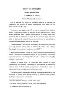 Artigo Direito das Obrigações. Civil III