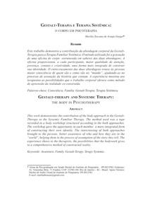 Gestalt Terapia e Terapia Sistêmica  o corpo em psicoterapia