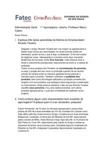 Administração Geral     1 - Ricardo Tavares