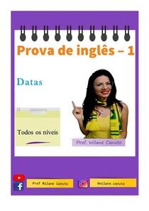 INGLÊS - prova - Datas