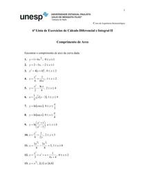 7 Lista de Cálculo Dif e Int II - Comprimento de Arco