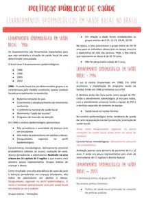 Resumo políticas públicas de saúde - Levantamentos epidemiológicos em saúde bucal em 1986,1996,2003 e 2010.