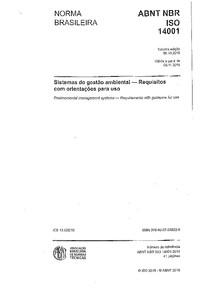NBR ISO 14001   SGA   Requisitos e orientações