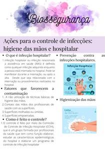 Biossegurança: ações para o controle de infecções higiene das mãos e higiene hospitalar