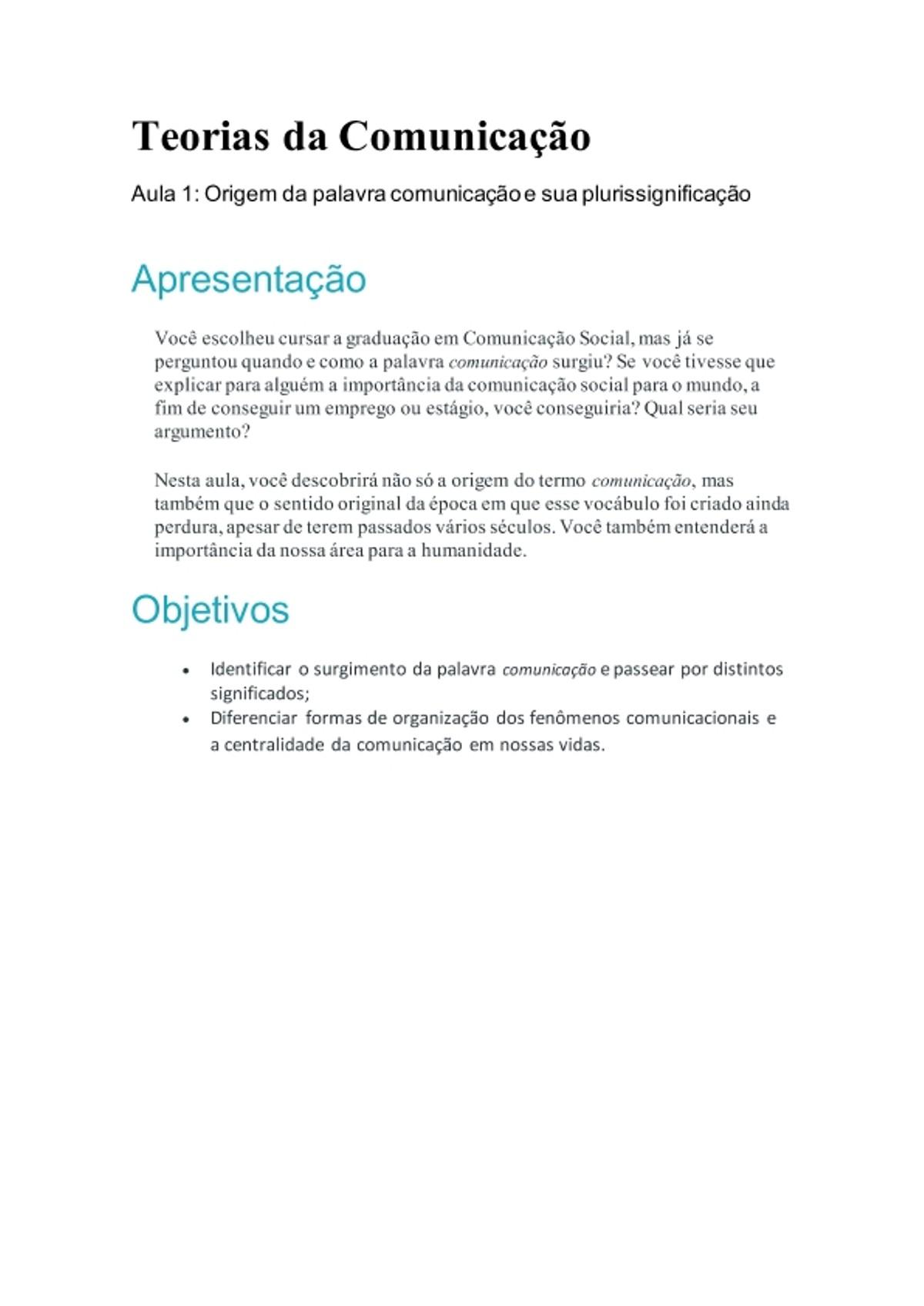 Pre-visualização do material Teorias da Comunicação - página 1