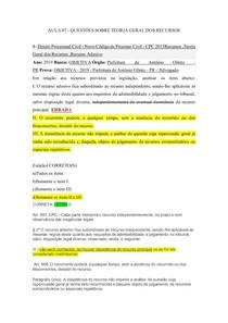 AULA 07 - Questões teoria geral dos recursos COMENTADA