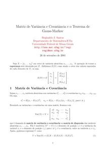 Matriz de Variância e Covariância e Teorema de Gauss-Markov
