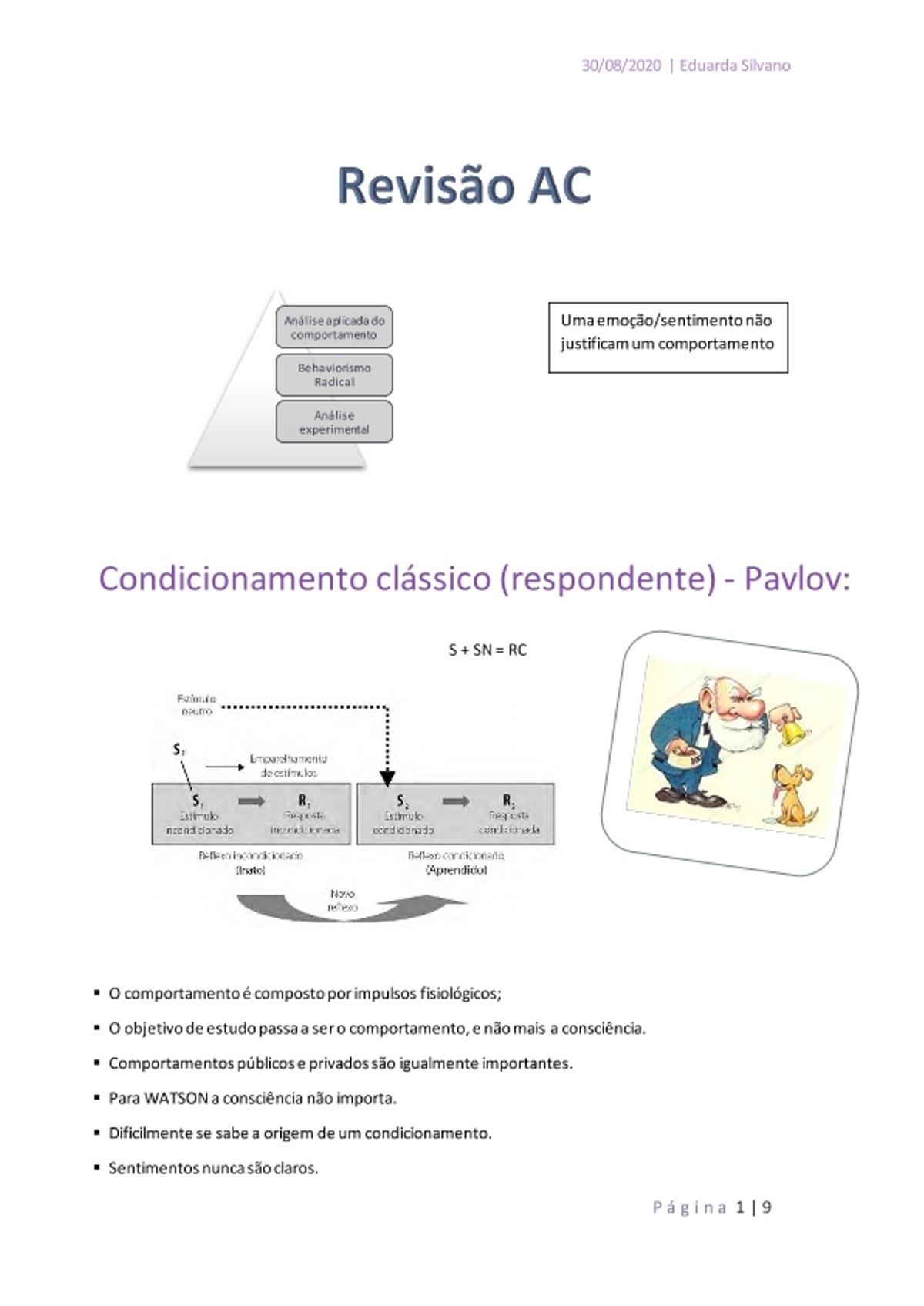 Pre-visualização do material Revisão analise do comportamento - página 1