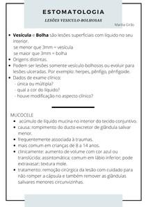 ESTOMATOLOGIA - lesões vesiculo bolhosas