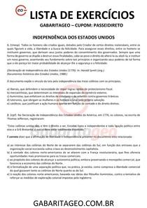 EXERCÍCIOS RESOLVIDOS INDEPENDÊNCIA DOS ESTADOS UNIDOS - 02