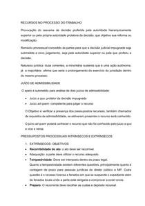 RECURSOS NO PROCESSO DO TRABALHO