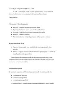 Resumo - Articulação Temporomandibular (ATM)
