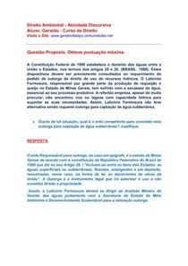 Direito Ambiental Atividade Discursiva