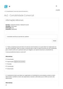Av2 - Contabilidade Comercial - 5º Período
