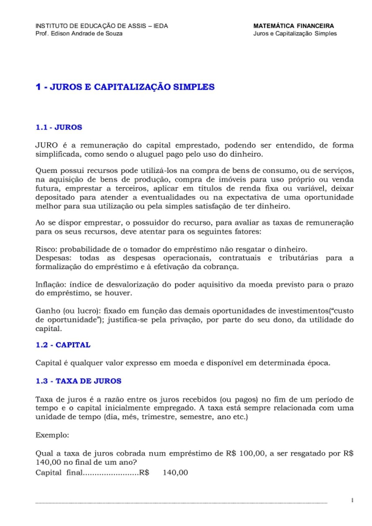 Pre-visualização do material Apostila Matematica Financeira - página 1