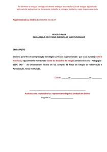 Modelo Declaraçao De Estagio Prat Estágio Processos Educacio