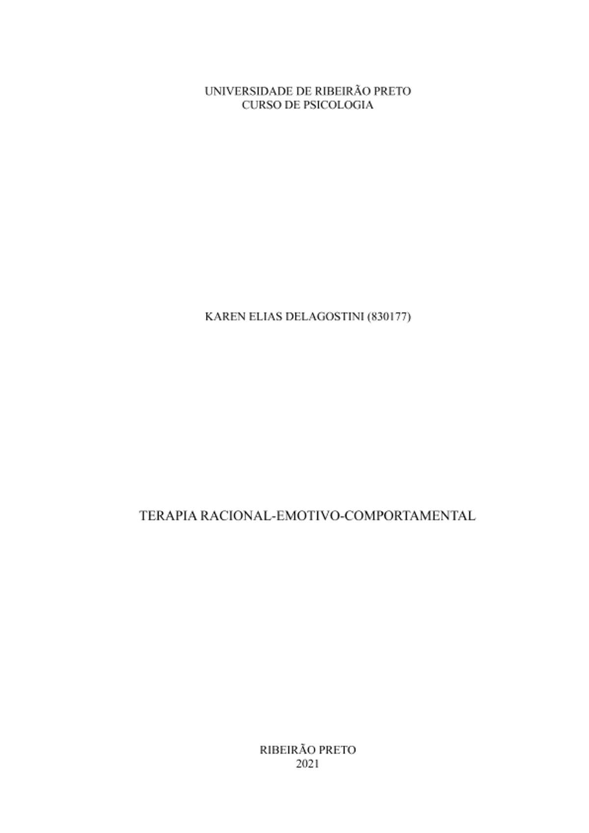 Pre-visualização do material Terapia Racional-Emotivo-Comportamental (TREC) - página 1