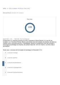 APOL 4- Nota 100 - Gestão Estratégica