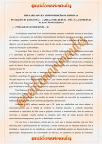 INTELIGÊNCIA EMOCIONAL - CAPITAL INTELECTUAL - PRÁTICAS MODERNAS NA GESTÃO DE PESSOAS