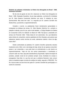 Relatório sobre palestras OAB direito do consumidor e superendividamento