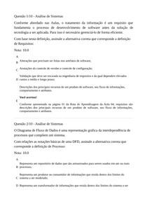Prova Objetiva Análise de Sistemas Nota 100