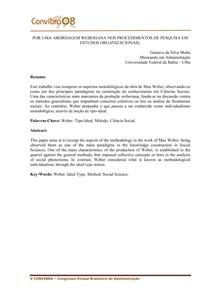 Por uma abordagem weberiana nos procedimentos de pesquisa em Estudos Organizacionais - Gustavo da Silva Motta