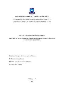 Análise crítica do Artigo Científico Defumação de filés de piau