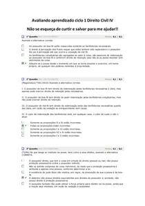 Avaliando aprendizado ciclo 1 Direito Civil IV