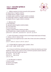 Lista 1 - LIG. QUÍMICAS