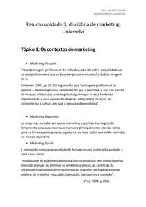Resumo unidade 3 Marketing, Uniasselvi