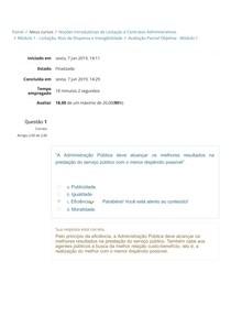 Avaliação Parcial Objetiva - Módulo 1 - ENAD - Noções Introdutórias de Licitação e Contratos Administrativos