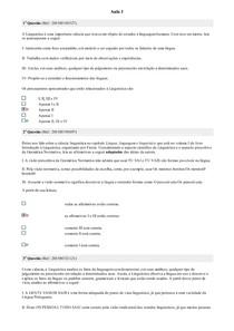 Linguística II - Avaliando o Aprendizado
