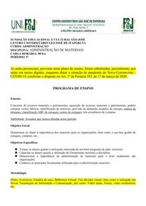 Plano de ensino Adm Materiais 5P Curso ADM FSJ 1 2020
