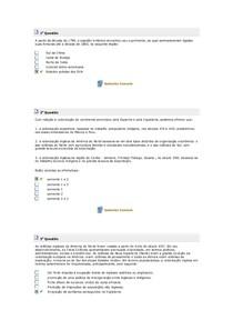 Exercicios aula 06 a 10  HISTÓRIA DA AMÉRICA I.