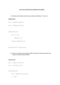 Exercícios sobre recurssão