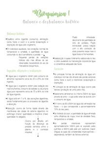 Bioquímica I - Balanço e Desbalanço Hídrico