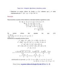 Questão resolvida - pontos críticos de uma função implícita - cálculo I - UFBA