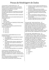 40 Questões de Modelagem de Dados AV1 AV2 AV3 AVS