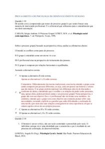 PROVA OBJETIVA DE PSICOLOGIA DO DESENVOLVIMENTO HUMANO