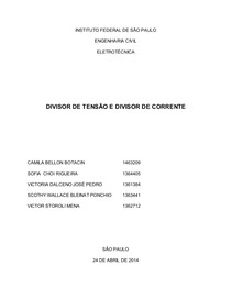 RELATÓRIO 4 - DIVISOR DE TENSÃO E DIVISOR DE CORRENTE